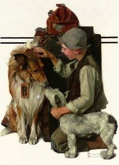 """Boy with Two Dogs (Raleigh Rockwell Travels)"" - September Saturday Evening Post cover by Norman Rockwell Norman Rockwell Prints, Norman Rockwell Paintings, Rough Collie, The Saturdays, Jack Russell Terrier, Dog Art, American Artists, Retro, Belle Photo"