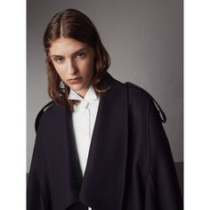 Burberry Wool Cashmere Blend Military Cape, Blue