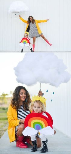 Creative Mom and Kid Halloween Costumes - Rainbow and Cloud with Pottery Barn Kids. Photo by Chrissy Powers Informations About Creative Mom and Kid Halloween Costumes - Baby Bird's Farm and Cocina Pin Costume Halloween, Halloween Bebes, Childrens Halloween Costumes, Mom Costumes, Homemade Halloween Costumes, Costume Ideas, Children Costumes, Family Costumes, Halloween Ideas