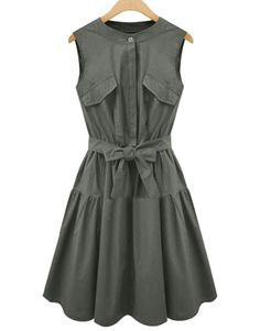 $16.85 Fashionable Women's Sleeveless Pure Color Belted Dress