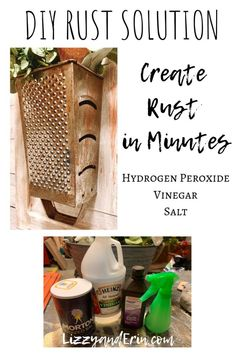 Make New Metal Rusty in Minutes- Simple Rust Solution – Lizzy & Erin Painting Rusty Metal, Rusted Metal, Antique Metal, Metal Tins, Metal Art, Rust Paint, Metallic Paint, Dollar Tree Crafts, Dollar Tree Store