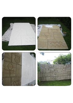 Indiana Jones party decor. Create the temple wall as a backdrop for the party. Carve hieroglyphics into 8'L x 4'W styrofoam panels. Texturize and paint. Attach panels to plywood with adhesive. Attach numerous panels together. This wall was 32'L x 8'H.