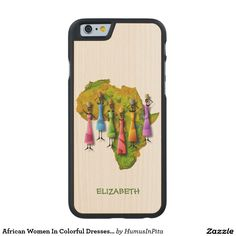 African Women In Colorful Dresses On Africa Map Carved® Maple iPhone 6 Slim Case