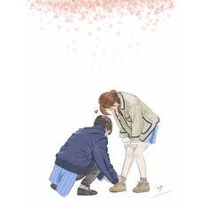 Strong woman bong soon Art Love Couple, Love Cartoon Couple, Cute Couple Drawings, Cute Love Cartoons, Anime Love Couple, Anime Woman, Anime Art Girl, Anime Couples Manga, Cute Anime Couples