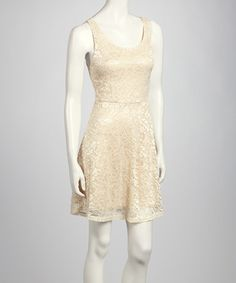 Take a look at this Ivory Lace Sleeveless Dress by Bella D on #zulily today!