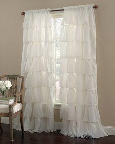 "Cream 96"" Long Gypsy Shabby Chic Semi Sheer Ruffled Window Curtain Panel"