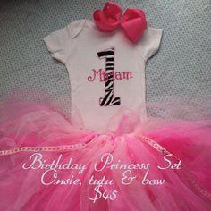 Personalized Birthday Princess Onesie, Tutu and bow. $45.00, via Etsy.