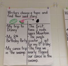 Writers choose a topic and find their seed story.
