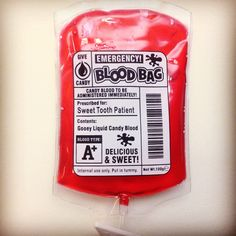 This emergency blood bag was what I needed today. Nurse Life, Saga, Sweet Tooth, Blood, Candy, Sweets, Candy Bars, Chocolates