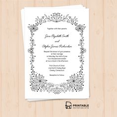 FREE PDF templates - Doodle Foliage Frame Free wedding Invitation with included fonts