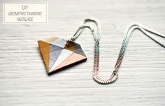 "DIY GEOMETRIC DIAMOND NECKLACE - You need:  - a chain necklace and a jumpring  - a paintbrush and paint (No paint? Nail polish works fine too!)  - a small scrap piece of leather (genuine or synthethic), approx. 1.5"" x 1.5""  - a diamond shape  - tape and scissors  - an awl or a needle"
