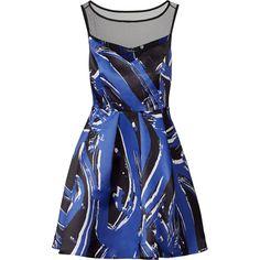 Parker Rental Parker Brushstroke Dress ($75) ❤ liked on Polyvore featuring dresses, henley dress, boatneck dress, blue dress, sleeveless dress and abstract print dress
