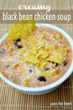 Pass the Fresh: Creamy Black Bean Chicken Soup. This link works Pass the Fresh: Creamy Black Bean Ch Slow Cooker Recipes, Soup Recipes, Chicken Recipes, Cooking Recipes, Healthy Recipes, Recipies, Yummy Recipes, Healthy Soup, Recipes Dinner
