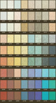Colour Chart for Pitted Textured Polished Plaster