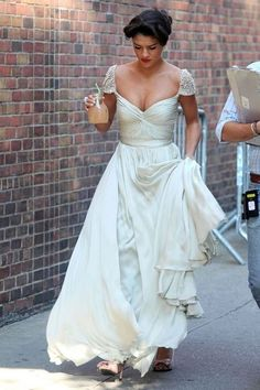Jessica Szohr Vanessa Abrams Silver Cap Sleeve Prom Gown Gossip Girl Style Celebrity Dresses