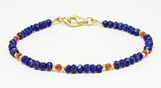 Excited to share the latest addition to my #etsy shop: Genuine Lapis Lazuli bracelet and natural red zircon, beaded Lapis Lazuli bracelet, 925 sterling silver bracelet, gold vermeil http://etsy.me/2FX23mo #jewelry #bracelet #red #lobsterclaw #silver #yes #girls #no #bl