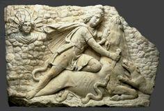 Mithras slaying the bull, c.150-200 (limestone). Roman, (2nd century AD) / Cincinnati Art Museum, Ohio, USA / Gift of Mr. and Mrs. Fletcher E. Nyce / The Bridgeman Art Library