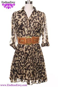 Leopard Pleated Shirt Dress at Endless Envy Fashion Jewelry & Clothing Boutique - Endless Envy Jewelry & Clothing Boutique #Leopard #Animal #Dress #Shirt #OOTD #Lion #Tiger #Fashion #Style #StyleEnvy #FashionWeek
