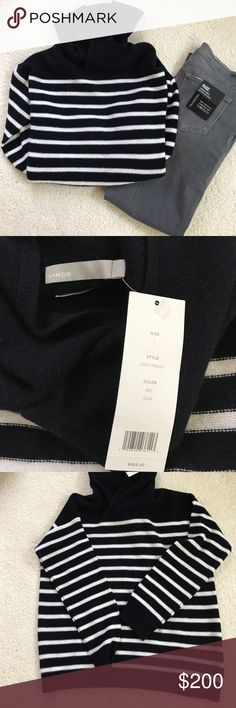NWT Vince cashmere navy/white striped hoodie L Brand new with tags.  In excellent condition and no flaws.   cashmere hoodie from Vince in size Large.  Navy and white striped. Vince Sweaters