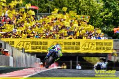 Valentino Rossi in front of his supporters stand Catalunya 2015 .Where's Cristina ?