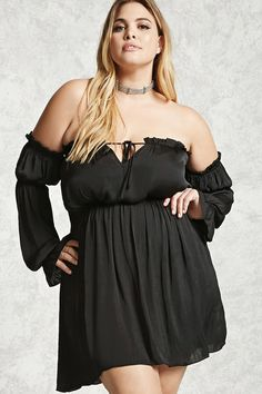 Forever 21+ - A satin woven dress featuring an elasticized off-the-shoulder neckline, ruffle trim, a self-tie front with a keyhole cutout, an elasticized waist, long sleeves with elasticized arm bands and cuffs, trumpet cuff, and a flowy silhouette.
