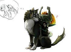 Wolf Link and Midna, The Legend of Zelda: Twilight Princess artwork by Alderion Al.