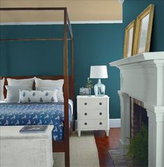 Look at the paint color combination I created with Benjamin Moore. Via @benjamin_moore. Wall: River Blue 2057-10; Mantle: Puritan Gray HC-164; Chest: Half Moon Crest 1481; Ceiling: Huntington Beige HC-21.