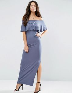 ASOS   ASOS Ruffle Off Shoulder Bardot Maxi Dress at ASOS