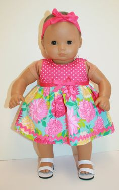 Spring Dress for American Girl Bitty Baby Doll - Pink Polka Dots & Floral
