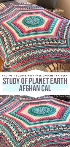 Study of Planet Earth Afghan CAL Free Crochet Pattern Afghans cal Beautiful Blanket CALs Free Crochet Patterns Crochet Crafts, Crochet Yarn, Crochet Stitches, Crochet Projects, Crochet Flowers, Crochet Ideas, Crochet Afghans, Baby Blanket Crochet, Crochet Blankets