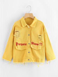 Slogan Embroidered Ripped Denim Jacket