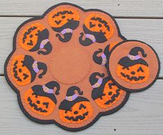 """This 12"""" round candle mat will make you smile with it's circle of happy Jack-o-Lanterns! They cast a spell in their bewitching hats. Finished Size: Candle Mat 12"""" round Skill Level: Just Learning Technique: Wool Applique Hand Sewing Projects, Diy And Crafts Sewing, Diy Crafts, Round Candles, Cute Candles, Halloween Home Decor, Halloween House, Halloween Patterns, Felt Applique"""