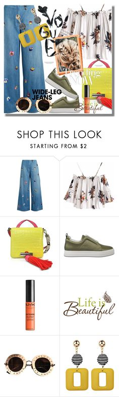 """Flare Up: Wide-Leg Jeans"" by pesanjsp ❤ liked on Polyvore featuring Christopher Kane, Kenzo, Pierre Hardy, NYX, Wall Pops!, Kershaw, Gucci, denimtrend and widelegjeans"