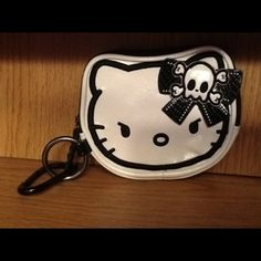 NEW!! *CuTe* Hello Kitty Punk Skull N Crossbones Zipper Pouch/ Purse/ Case/ With Keyring