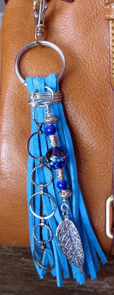 Purse Charm, Tassel, Zipper Pull, Key Chain - Chunky Turquoise Suede, Cobalt Blue and Amber Glass Beads Silver Filigree Leaf Gypsy Boho Tassel Jewelry, Leather Jewelry, Leather Craft, Beaded Jewelry, Jewelery, Jewelry Crafts, Jewelry Art, Beaded Purses, Bijoux Diy