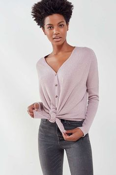 Slide View: 6: Out From Under Jojo Oversized Thermal Button-Front Top