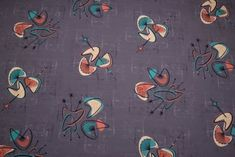 Grey style interior fabric with a Turquoise, Coral and Cream Atomic design. Ideal for Upholstery, Curtains and Interior design projects. Midcentury Curtains, Mid Century Modern Fabric, Antique Prints, Fashion Fabric, Textile Design, Mid-century Modern, My Design, Retro Vintage, Vintage Fashion