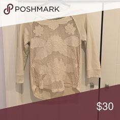 Lucky Brand off white dressy sweatshirt Never worn, off white dressy sweatshirt. Has floral design on the front. Size Small. Lucky Brand Tops Tees - Long Sleeve