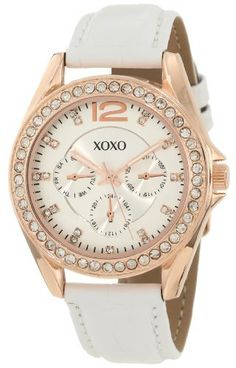 XOXO Women's XO3357 Rhinestones Accent White Strap Watch XOXO. $19.99. Two-layered dial with 3 faux chronographs for decorative purposes only. Clear rhinestones bezel. Quality quartz movement. Buckle clasp. Case diameter: 37 mm