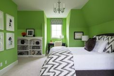 Lime Green Paint Colors, Contemporary, Girl's Room, Sherwin Williams Lime Rickey, Martha O'Hara Interiors