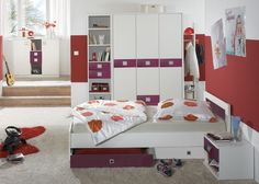Jugendzimmer komplett Weiß mit Brombeer 5708. Buy now at https://www.moebel-wohnbar.de/kinderzimmer-komplett-jette-jugendzimmer-7-tlg-weiss-brombeer-lila-5708.html