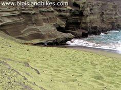 Green sand beach in Hawaii the big island