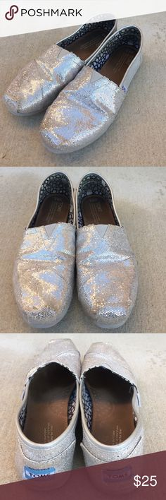 TOMS silver glittery shoes Gently worn , no rips or holes , size 8.5, some glitter rubbed off but not noticeable, 🌟REASONABLE OFFERS ACCEPTED🌟 TOMS Shoes