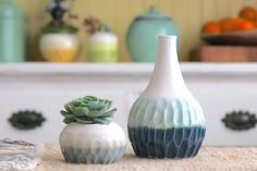 Hand Carved Bottle - Blue Ombre - Ceramic Vase - Modern Home Decor - Ready to Ship