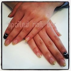 Black and Gold gel set with gems and sparkles Nail Bar, Pedicure, Sparkles, My Nails, Gems, Beauty, Black, Art, Art Background