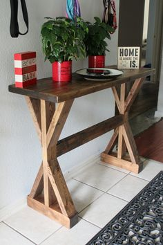 Rustic X-Console Table