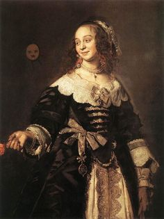 7. Whisk collar, overskirt splits in center front to reveal fancy underskirt. Decorative ribbons line the breast, typical of this time period.