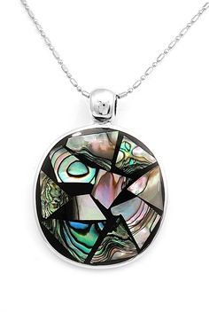 Artisan Sterling Silver Inset Natural Abalone Pendant Jewelry Taxco Mexico #Handmade #Pendant