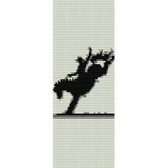 Horses Indian Beadwork Patterns and Designs | BUCKING HORSE SILHOUETTE - LOOM beading pattern for cuff bracelet SALE