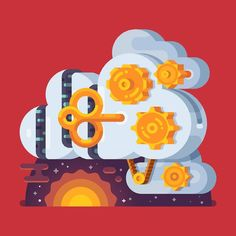 An illustration for Mail.Ru Group.  #dribbble #illustration #vector #julypluto #space #server #cloud #mailru by julypluto